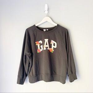Gap gray floral graphic crewneck sweatshirt
